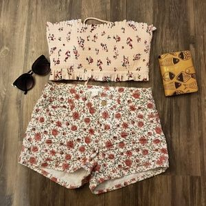 H&M white floral shorts